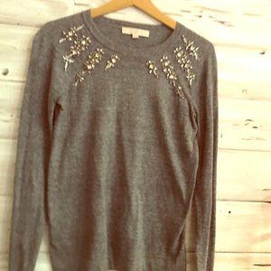 Ann Taylor Loft Grey and sparkle sweater